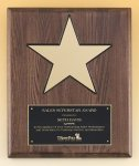 Walnut Stained Piano Finish Plaque with 8 Gold Star Piano Finish Plaques