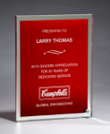 Glass Plaque with Red Center and Mirror Border Red Glass Awards